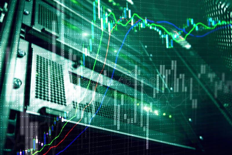 Broker monitoring center. Stock market management center. Trading algorithms on server room.  stock photo