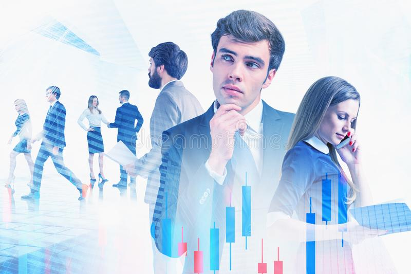 Brokers in city, teamwork and stock market. Portrait of young business people working together in modern city with double exposure of forex charts. Concept of stock photography