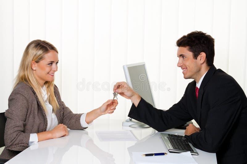Brokers and tenants make rental agreement.