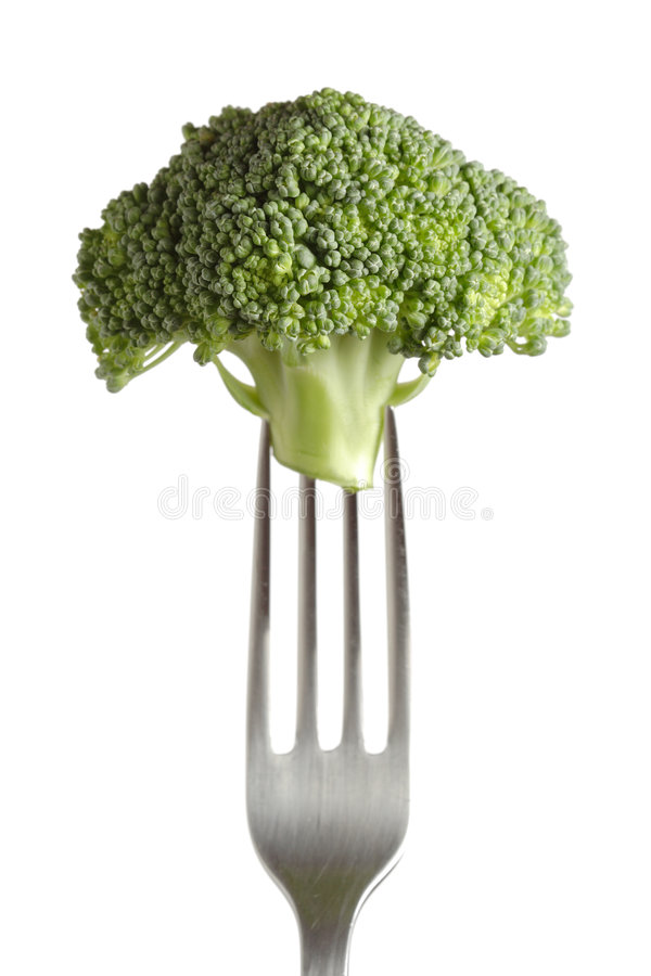 Brokkoli auf einer Gabel lizenzfreie stockfotografie