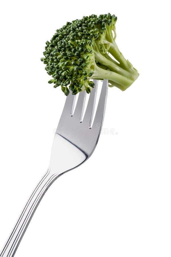 Brokkoli auf einer Gabel lizenzfreie stockfotos