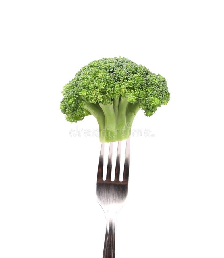 Brokkoli festgenagelt auf einer Gabel. lizenzfreie stockfotografie