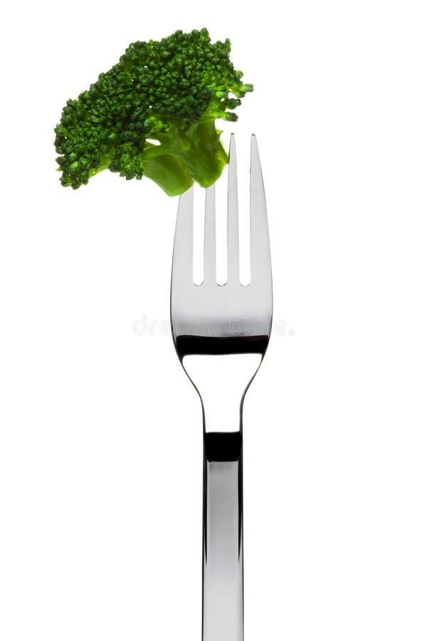 Brokkoli Floret sticked auf Gabel lizenzfreies stockbild