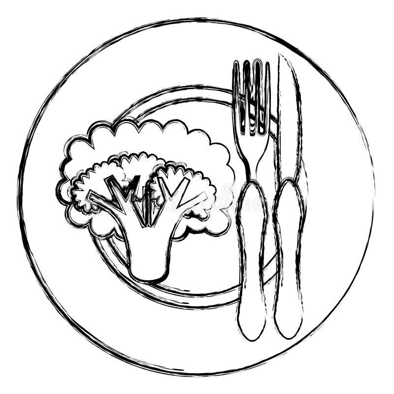 Brokkoli im Teller mit Gabel und Messer vektor abbildung
