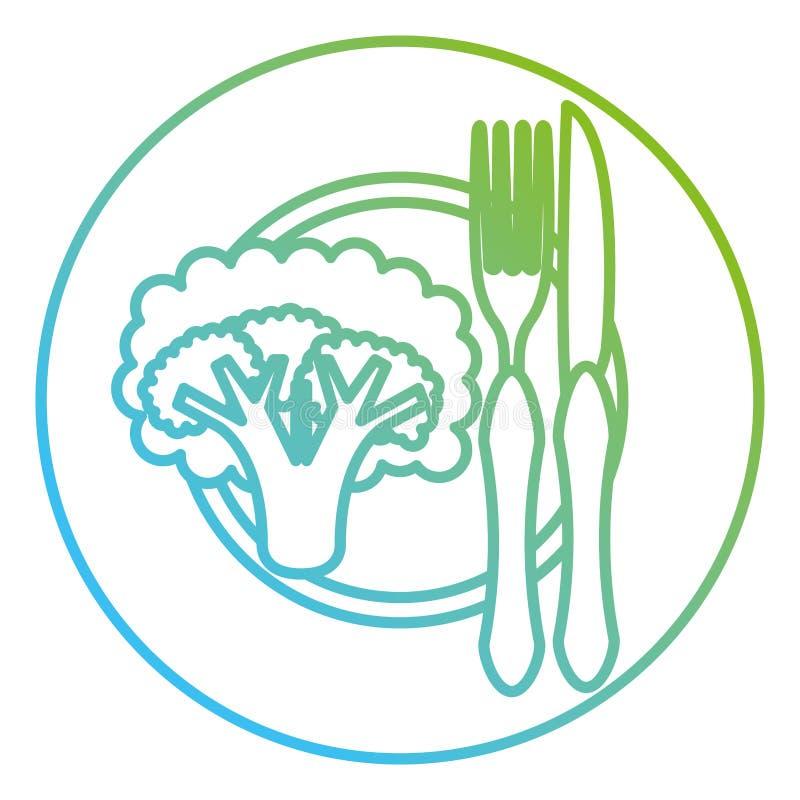 Brokkoli im Teller mit Gabel und Messer stock abbildung