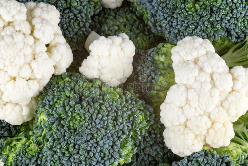 Brokułów i Kalafiorowych Florets Zamknięty Up obrazy stock