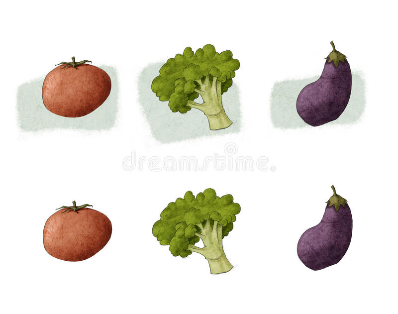 Brokułu pomidorowy aubergine ilustracja wektor