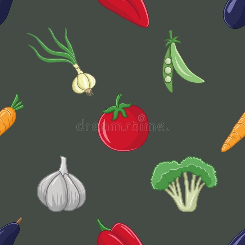 Brokuły, czosnek, cebula, pieprz, pomidor, marchewka, grochy i oberżyna, ilustracja wektor
