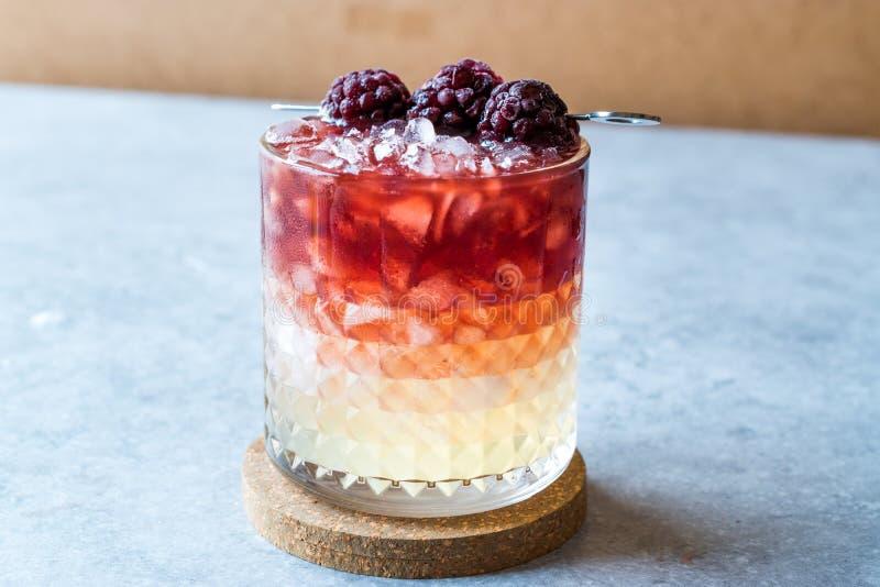 Brombeerstrauch-Cocktail mit Brombeeren und zerquetschtem Eis stockfoto