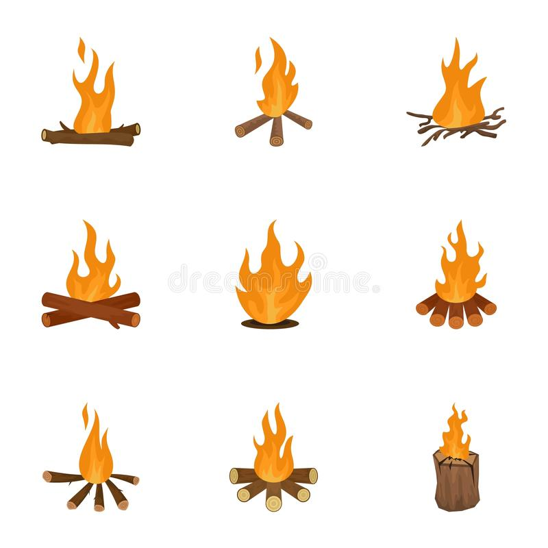 Bromegrässymboler uppsättning, tecknad filmstil stock illustrationer
