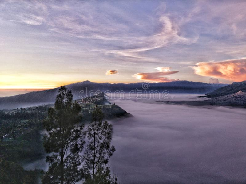 Bromo clouds carpet royalty free stock images