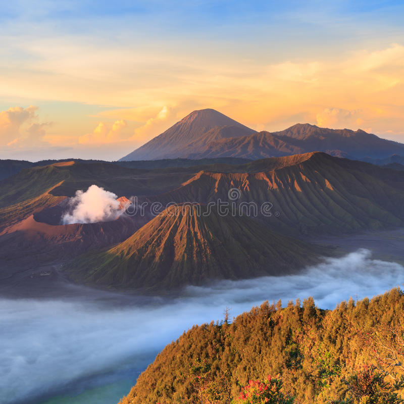 Bromo Mountain in Tengger Semeru National Park. At sunrise, East Java, Indonesia stock images