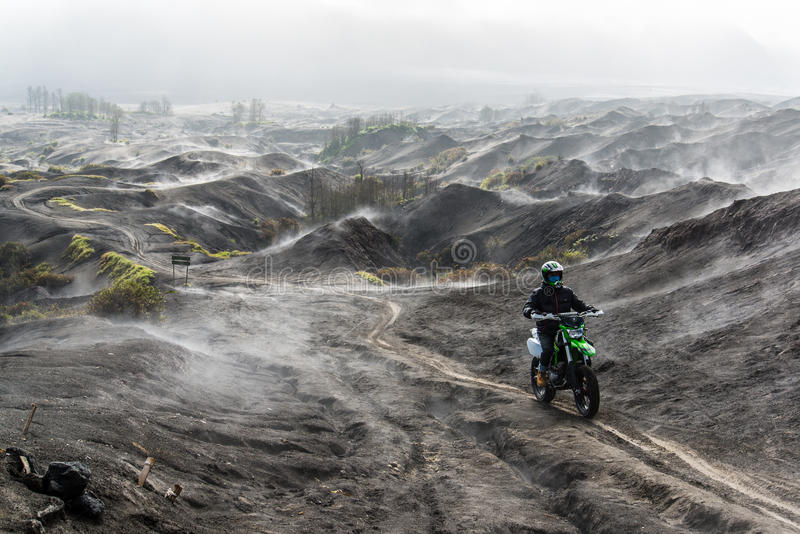 Bromo-up with motocross. stock photos