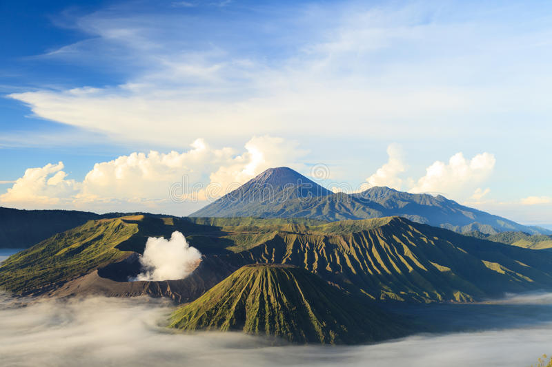 Bromo Vocano Mountain in Tengger Semeru National Park. Bromo Mountain in Tengger Semeru National Park on sunny day, East Java, Indonesia stock images