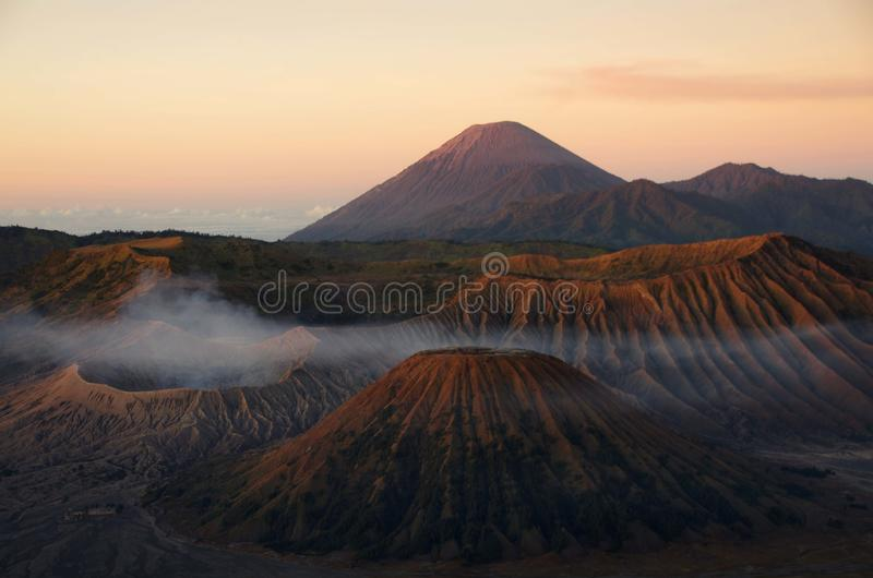 The Bromo volcano on the Java island in Indonesia. The Bromo volcano at dawn on the Java island in Indonesia, South East Asia royalty free stock photography