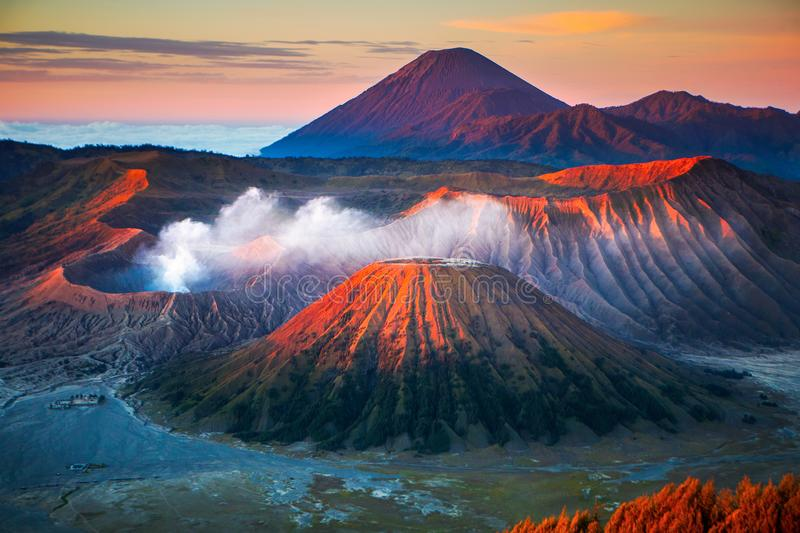 Bromo volcano. Mount Bromo, is an active volcano and part of the Tengger massif, in East Java, Indonesia stock photos