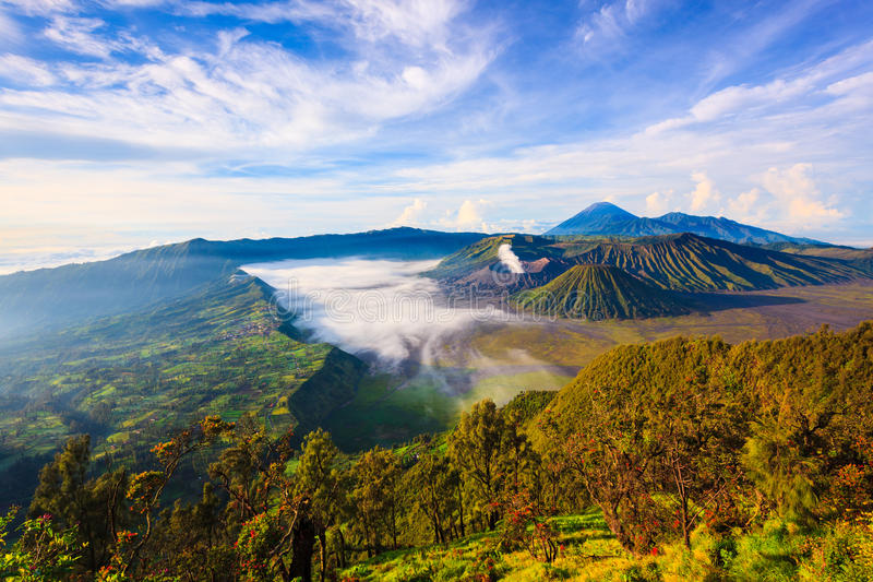 Bromo volcano at sunrise, East Java, Indonesia. Bromo volcano at sunrise,Tengger Semeru national park, East Java, Indonesia royalty free stock images
