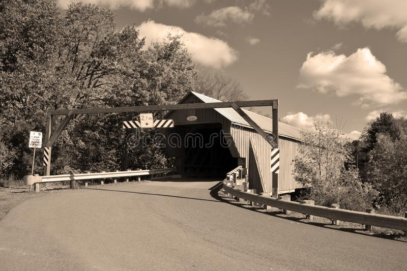 Freeport Covered Bridge. BROMONT QUEBEC CANADA 10 19 2019: Freeport Covered Bridge since 1870 in Cowansville, Quebec over Yamaska River stock image