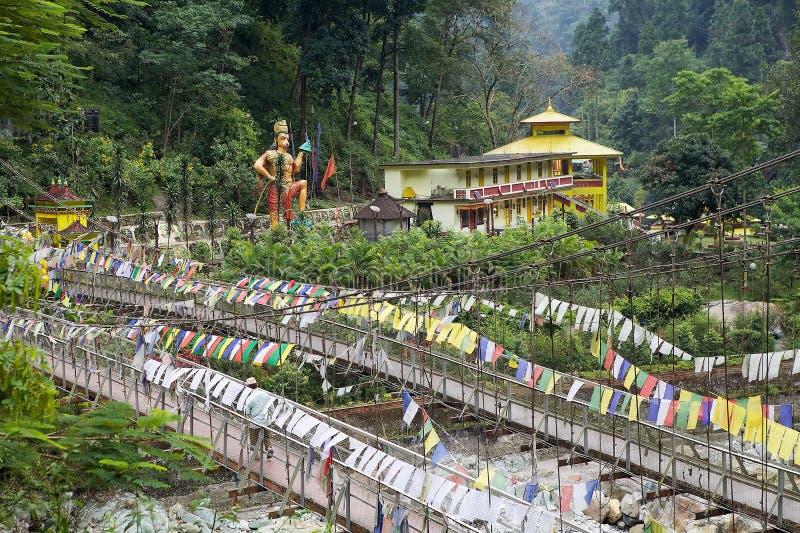 Bron över den Rangeet floden på Legship, västra Sikkim, Indien arkivbild