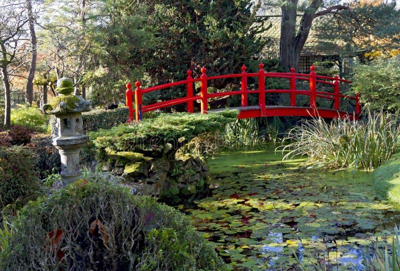 bron arbeta i trädgården japansk kildandrelivstid arkivfoto