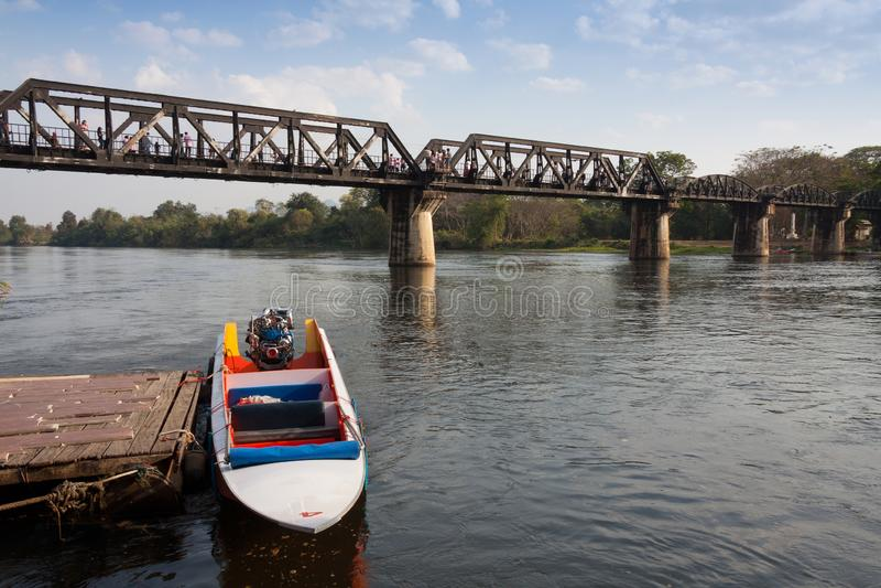 Bron av floden Kwai, Kanchanaburi, Thailand arkivfoto