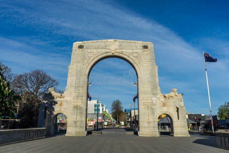 Bron av minnet är krigminnesmärkearna i Christchurch fotografering för bildbyråer