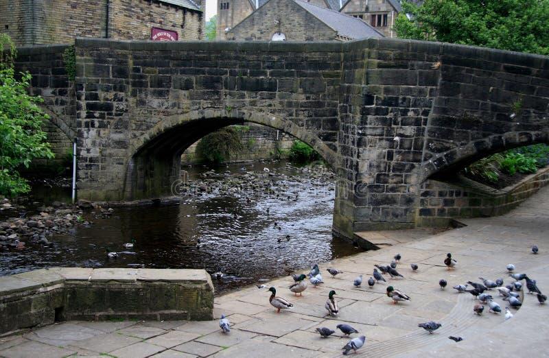 bron calder hebden floden fotografering för bildbyråer