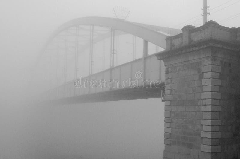 Bron förlorade i dimmiga november royaltyfri bild