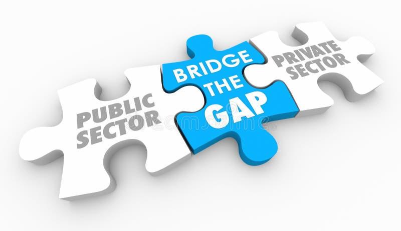 Bron Gap mellan offentliga privata sektorer förbryllar stycken 3d Illus vektor illustrationer