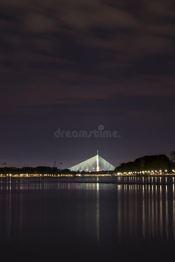 Bron i Belgrad som heter Ada bridge arkivbild