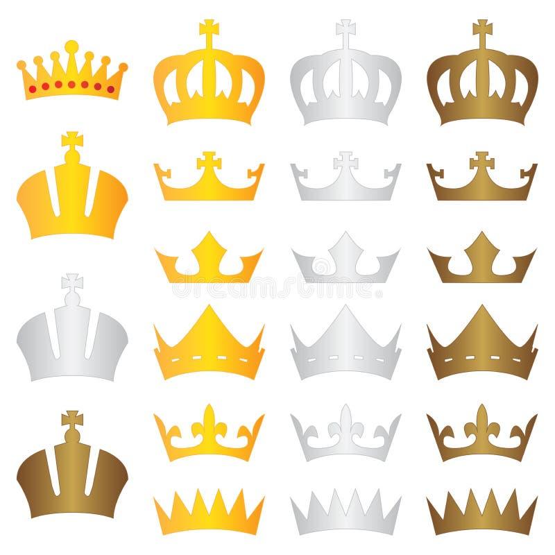 Bronce de la plata del oro de la corona del rey stock de ilustración