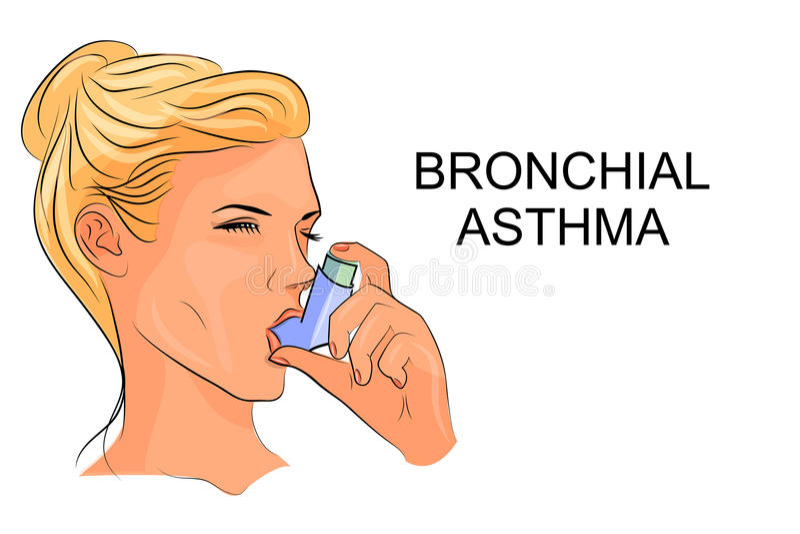 Bronchial asthma, inhaler. Illustration of women suffering from bronchial asthma with an inhaler vector illustration