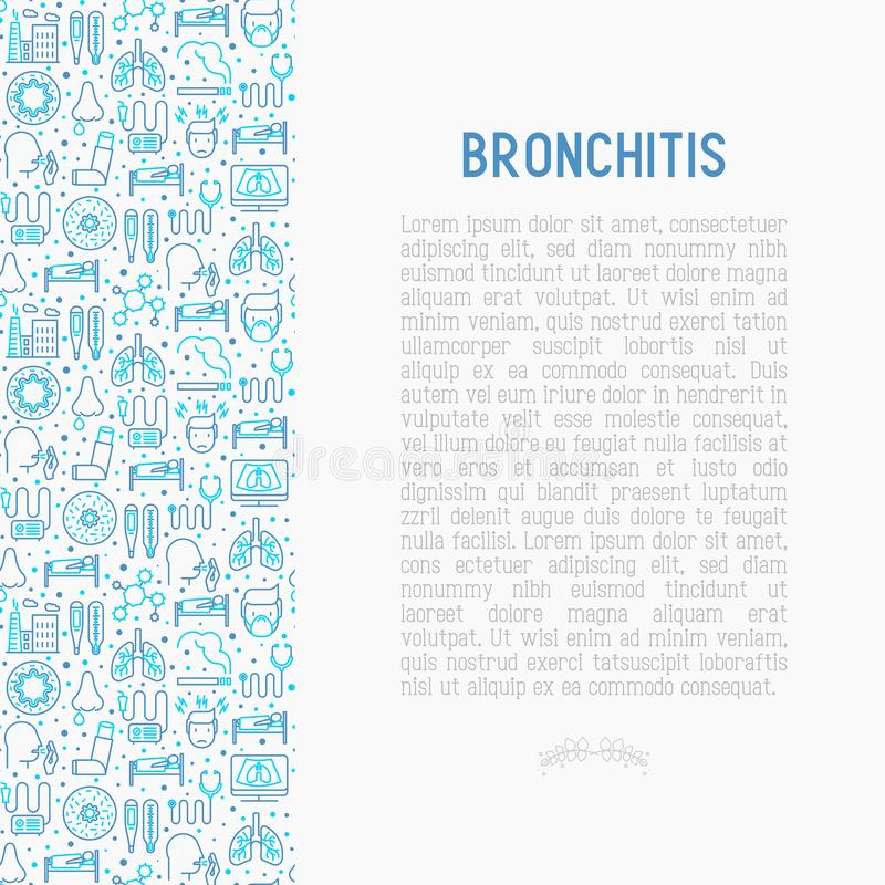 Bronchita pojęcie z cienkimi kreskowymi ikonami royalty ilustracja