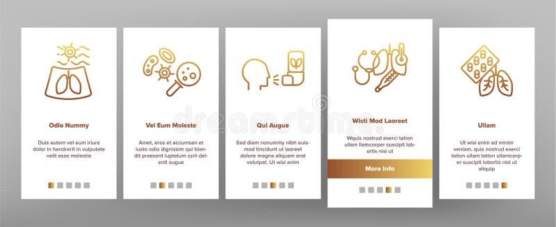 Bronchite, schermo mobile della pagina del App di Onboarding di asma di vettore allergico di sintomi royalty illustrazione gratis