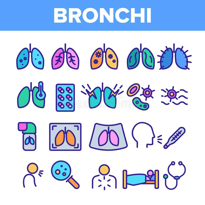 Bronchitis, allergischer Asthma-Symptom-Vektor-linearer Ikonen-Satz lizenzfreie abbildung