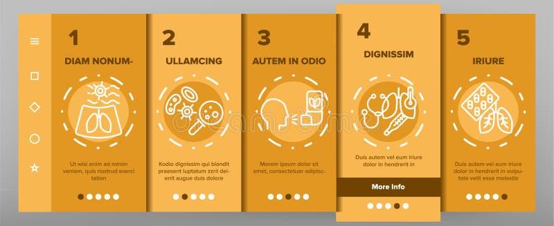 Bronchitis, App-Seiten-Schirm allergischer Asthma-Symptom-Vektor Onboarding mobiler stock abbildung