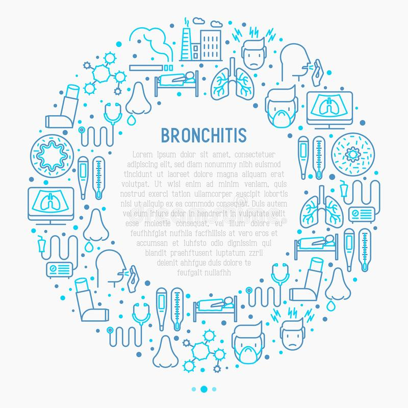 Bronchitis concept in circle with thin line icons. Of symptoms and treatments: headache, alveolus, inhaler, nebulizer, stethoscope, thermometer, x-ray, bed rest royalty free illustration