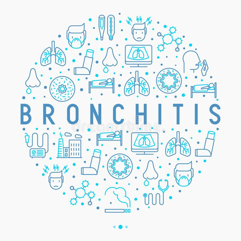 Bronchitis concept in circle with thin line icons. Of symptoms and treatments: headache, alveolus, inhaler, nebulizer, stethoscope, thermometer, x-ray, bed rest stock illustration