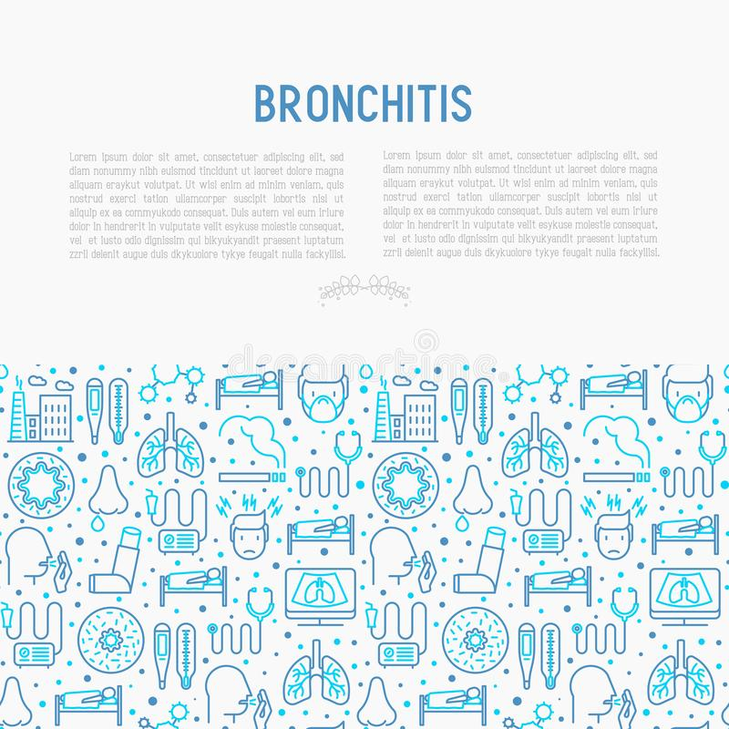 Bronchitis concept with thin line icons. Of symptoms and treatments: headache, alveolus, inhaler, nebulizer, stethoscope, thermometer, x-ray, bed rest. Vector royalty free illustration