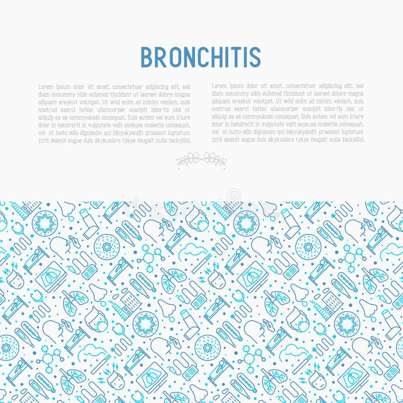 Bronchitis concept with thin line icons. Of symptoms and treatments: headache, alveolus, inhaler, nebulizer, stethoscope, thermometer, x-ray, bed rest. Vector vector illustration