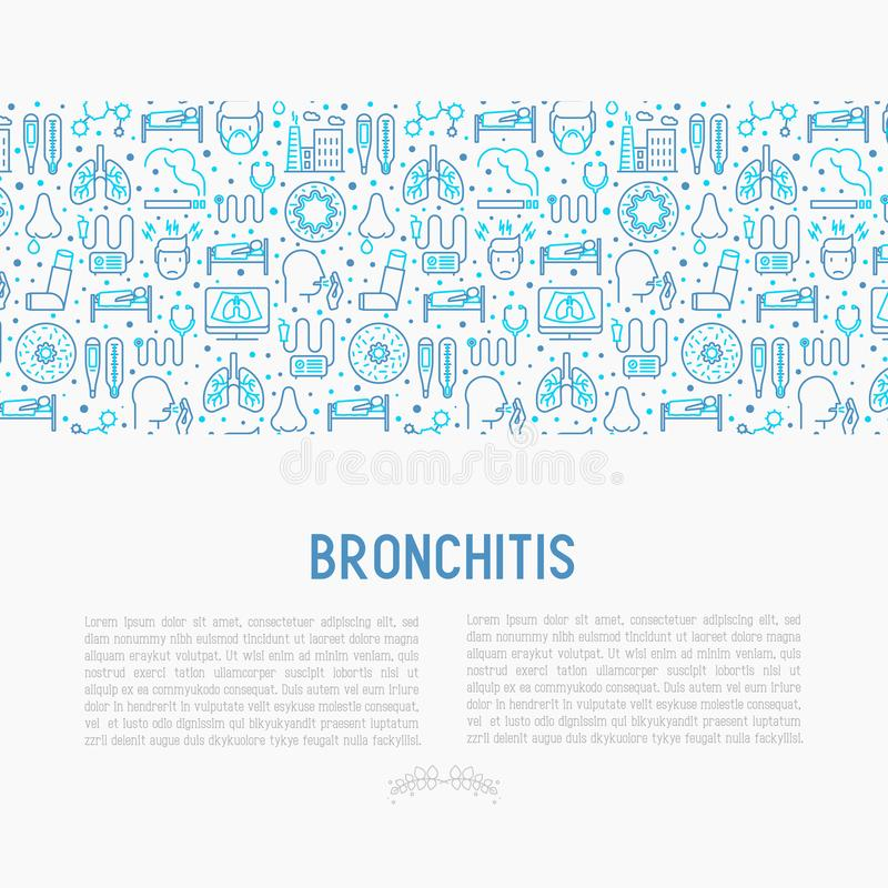 Bronchitis concept with thin line icons. Of symptoms and treatments: headache, alveolus, inhaler, nebulizer, stethoscope, thermometer, x-ray, bed rest. Vector stock illustration