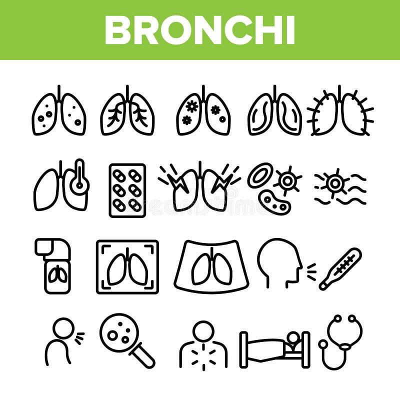 Bronchitis, de Allergische Vector Lineaire Geplaatste Pictogrammen van Astmasymptomen vector illustratie
