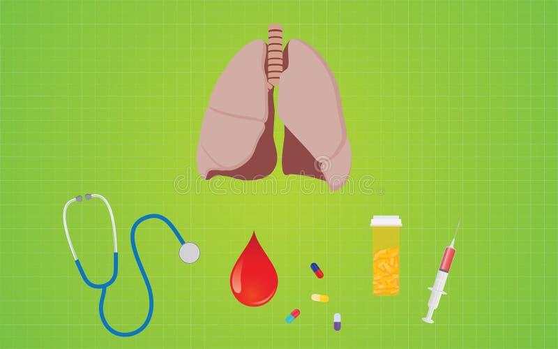 Bronchitis disease with lunge stethoscope medicine shrine pills royalty free illustration