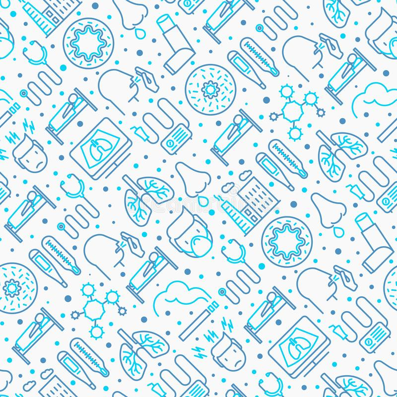 Bronchitis seamless pattern with thin line icons. Of symptoms and treatments: headache, alveolus, inhaler, nebulizer, stethoscope, thermometer, x-ray, bed rest royalty free illustration