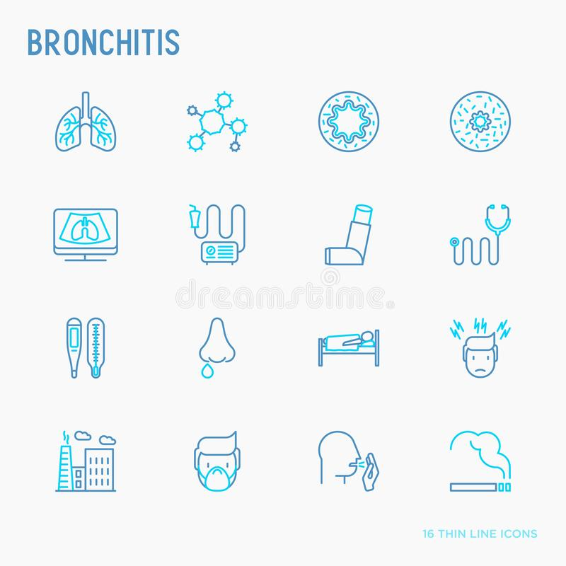 Bronchitis thin line icons set. Of symptoms and treatments: headache, alveolus, inhaler, nebulizer, stethoscope, thermometer, x-ray, bed rest. Vector vector illustration