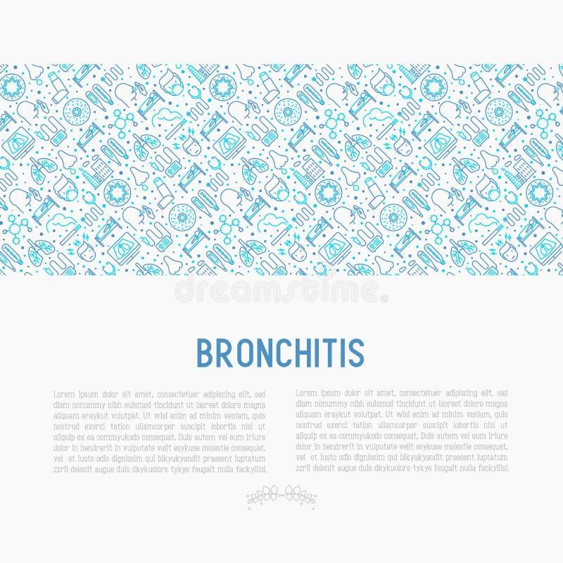 Bronchitisconcept met dunne lijnpictogrammen stock illustratie