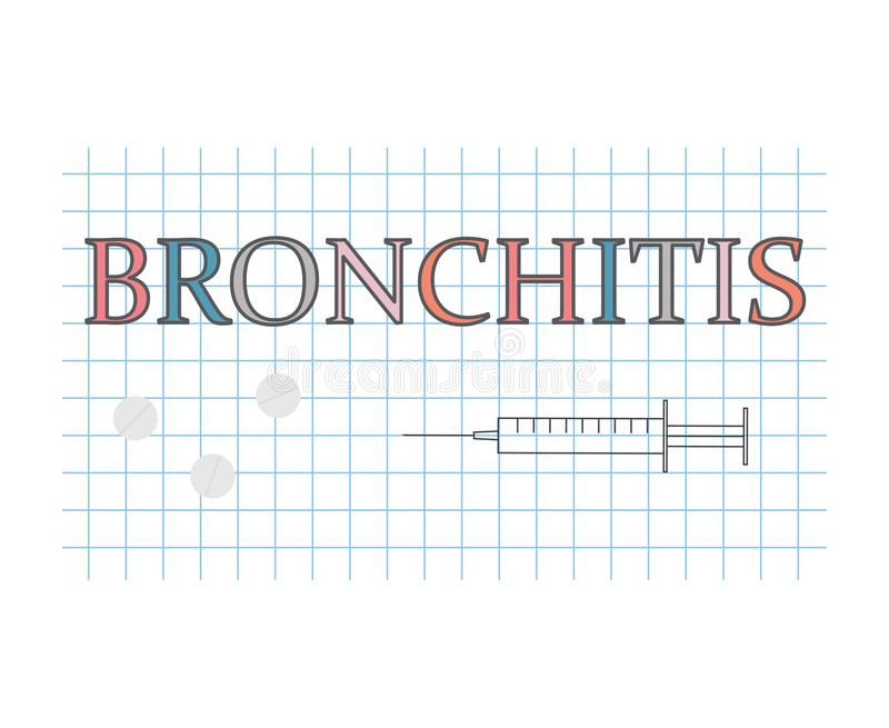 Bronchitiswort auf kariertem Papierblatt stock abbildung