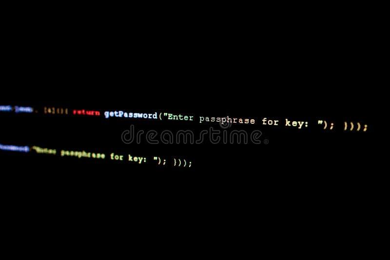 Broncode van Ethereum, cryptocurrency en gedecentraliseerd systeem royalty-vrije stock fotografie