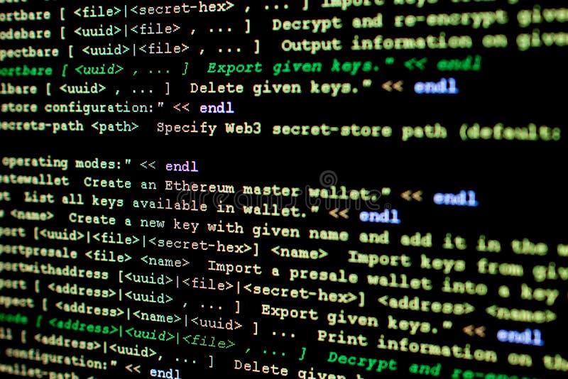 Broncode van Ethereum, cryptocurrency en gedecentraliseerd systeem stock afbeeldingen
