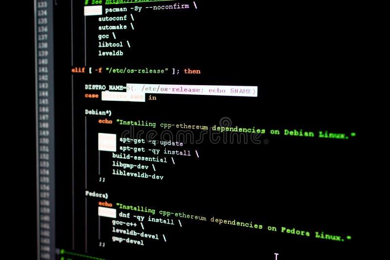 Broncode van Ethereum, cryptocurrency en gedecentraliseerd systeem royalty-vrije stock afbeeldingen